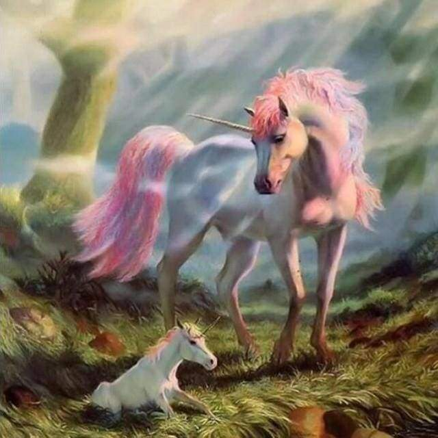 Diamond Painting | Diamond Painting - Unicorn and Baby | animals Diamond Painting Animals unicorns | FiguredArt