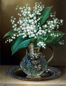 Diamond Painting | Diamond Painting - Vase of Lily of the Valley Flowers | Diamond Painting Flowers flowers | FiguredArt