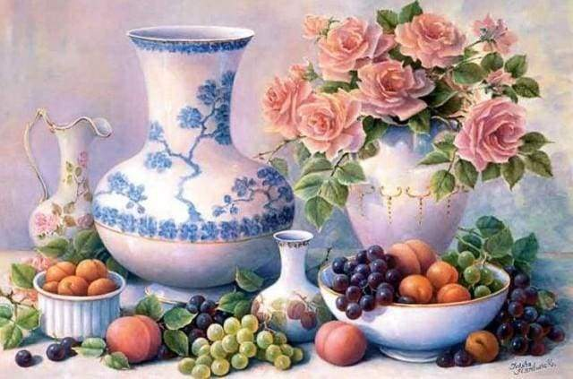 Diamond Painting | Diamond Painting - Vases and Fruits | Diamond Painting Flowers Diamond Painting kitchen flowers kitchen | FiguredArt