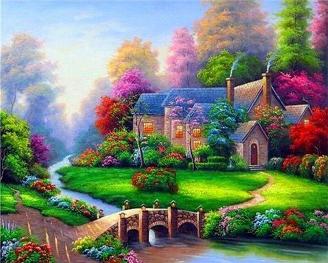 Diamond Painting | Diamond Painting - Villa with Nice Garden | Diamond Painting Landscapes landscapes | FiguredArt