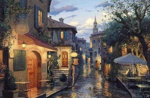 Diamond Painting | Diamond Painting - Village after the Rain | cities Diamond Painting Cities | FiguredArt