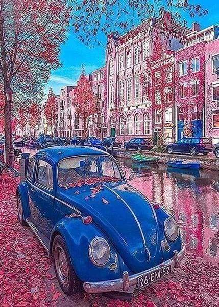 Diamond Painting | Diamond Painting - Vintage Car in Paris | cars and motorcycles cities Diamond Painting Cities | FiguredArt