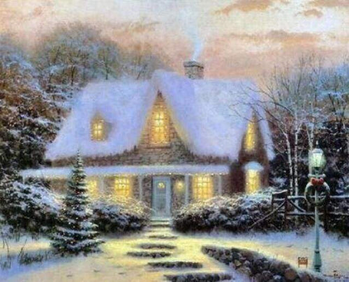 Diamond Painting | Diamond Painting - Winter Chalet in the snow | Diamond Painting Landscapes landscapes winter | FiguredArt