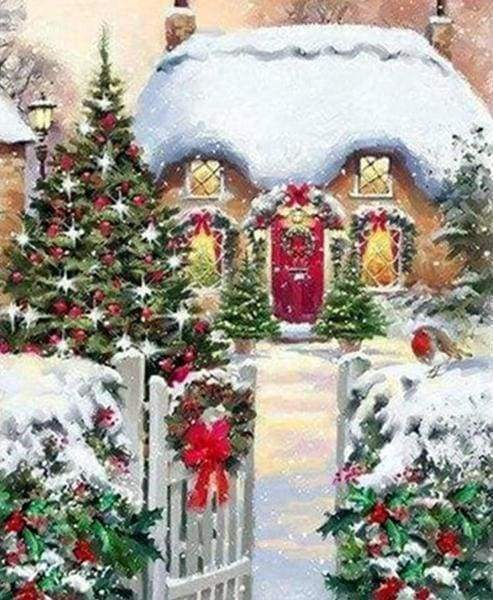Diamond Painting | Diamond Painting - Winter House | Diamond Painting Landscapes landscapes winter | FiguredArt