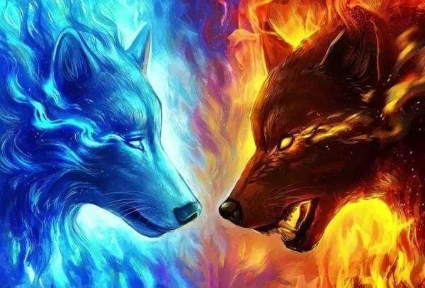 Diamond Painting | Diamond Painting - Wolves Ready to Fight | animals Diamond Painting Animals | FiguredArt