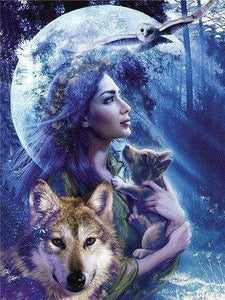 Diamond Painting | Diamond Painting - Women and Wolf | animals Diamond Painting Animals rabbits wolves | FiguredArt