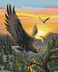 paint by numbers | Eagle at Sunrise | animals birds eagles easy landscapes | FiguredArt