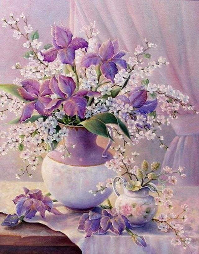 paint by numbers | Elegant Purple Vase | advanced animals elephants flowers | FiguredArt