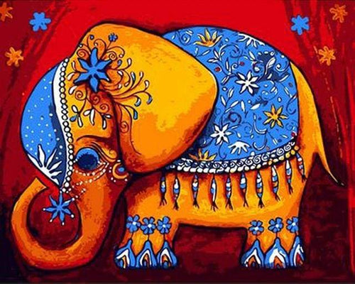 paint by numbers | Elephant Ready for Ceremony | animals easy elephants | FiguredArt
