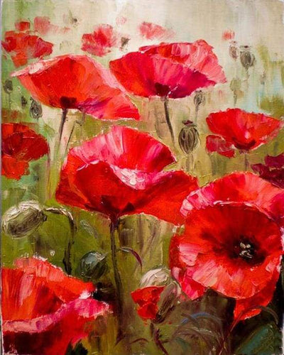 paint by numbers | Field of Poppies | advanced flowers | FiguredArt