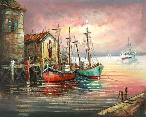 paint by numbers | Fishing boats at Port | advanced landscapes ships and boats | FiguredArt