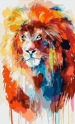 paint by numbers | Flamboyant Lion | animals intermediate lions | FiguredArt