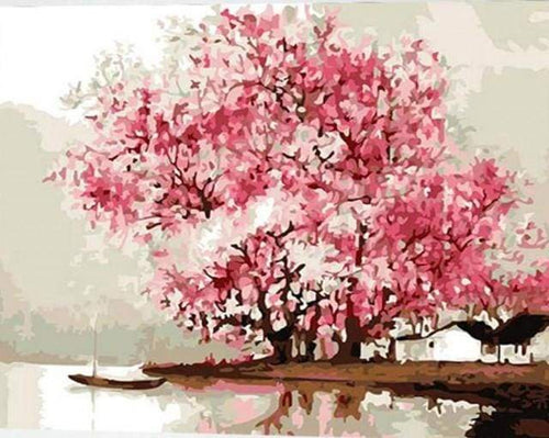 paint by numbers | Flowering trees during Spring | intermediate romance trees | FiguredArt