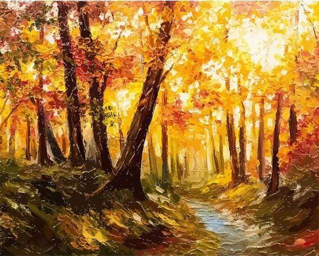 paint by numbers | Forest and Sunlight | advanced forest landscapes new arrivals | FiguredArt
