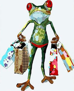 paint by numbers | Frog returning from shopping | animals easy frogs | FiguredArt