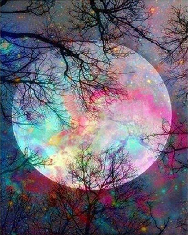 paint by numbers | Full Moon with colorful reflections | advanced landscapes trees | FiguredArt
