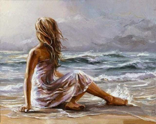 paint by numbers | Girl on the Beach | advanced landscapes romance | FiguredArt
