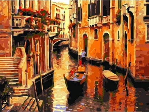 paint by numbers | Gondolas in Venice | cities intermediate | FiguredArt