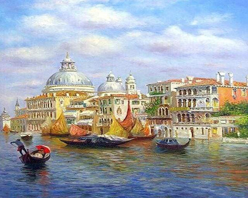 paint by numbers | Gondolier in Venice | advanced cities landscapes ships and boats | FiguredArt