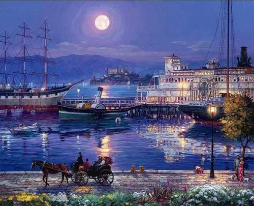 paint by numbers | Harbor by Night | advanced cities landscapes ships and boats | FiguredArt