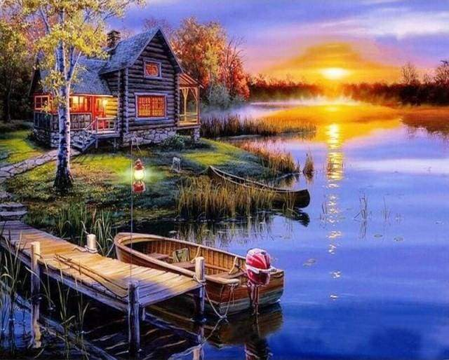 paint by numbers | House by the Lake | advanced flowers | FiguredArt