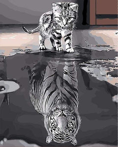 paint by numbers | Kitten Reflective Tiger | animals cats easy tigers | FiguredArt