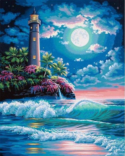 paint by numbers | Lighthouse under a full moon | intermediate landscapes | FiguredArt