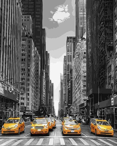 paint by numbers | Modern City and Yellow Taxis | advanced cities | FiguredArt