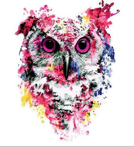 paint by numbers | Modern Pink Owl | animals intermediate new arrivals owls | FiguredArt