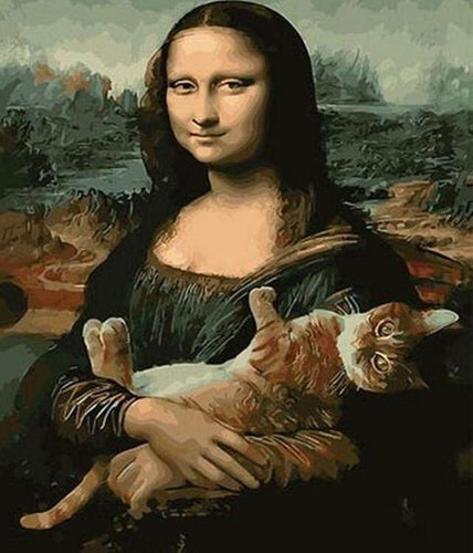 paint by numbers | Mona Lisa with her Cat | advanced animals cats famous paintings new arrivals | FiguredArt