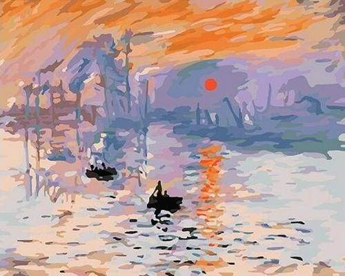 paint by numbers | Monet Sunrise | easy famous paintings landscapes monet ships and boats | FiguredArt