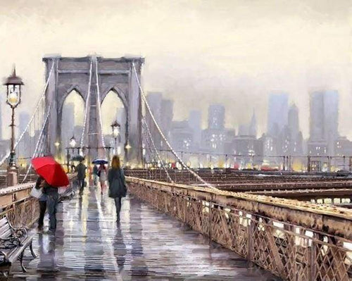 paint by numbers | On the Brooklyn Bridge | advanced cities | FiguredArt