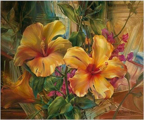 paint by numbers | Orange Hibiscus | flowers intermediate | FiguredArt