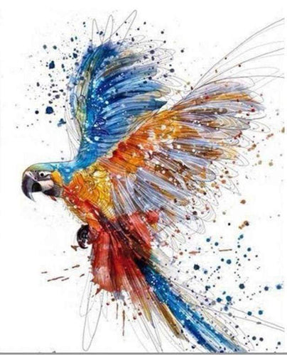 paint by numbers | Parrot in full Flight | advanced animals birds parrots | FiguredArt