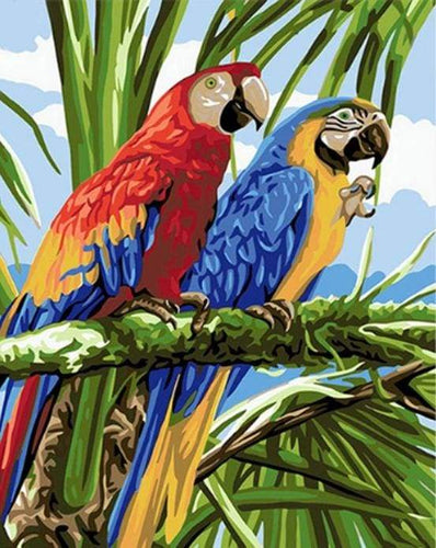 paint by numbers | Parrots in the Tropics | animals birds easy parrots | FiguredArt