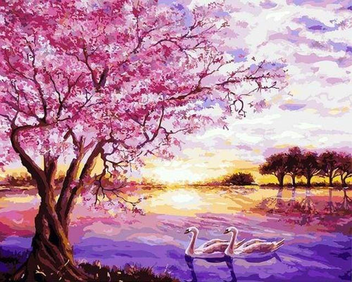 paint by numbers | Pink lake during sunset | advanced animals landscapes | FiguredArt
