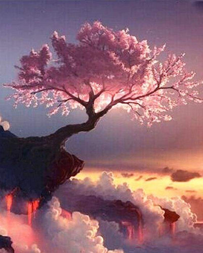 paint by numbers | Pink Tree | advanced landscapes | FiguredArt