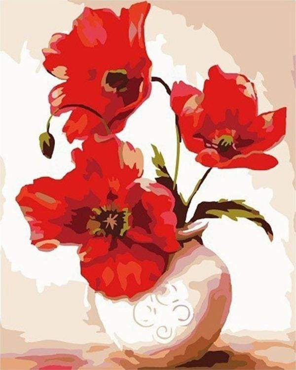 paint by numbers | Pretty Poppies | beginners easy flowers | FiguredArt