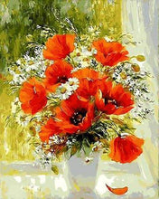 Load image into Gallery viewer, paint by numbers | Red Flowers and Daisies | flowers intermediate | FiguredArt