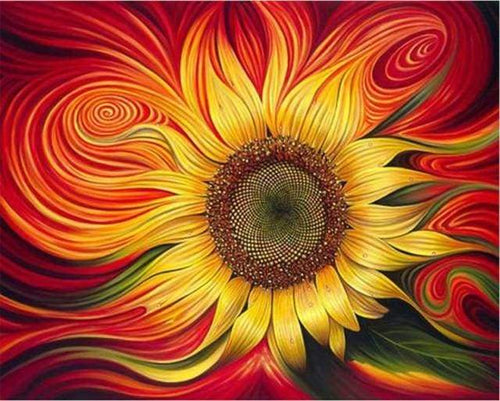 paint by numbers | Red Sunflower | flowers intermediate | FiguredArt