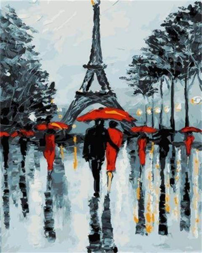 paint by numbers | Romantic couples near the Eiffel Tower | cities intermediate | FiguredArt