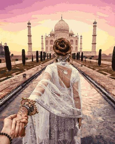 paint by numbers | Romantic Stroll Taj Mahal | intermediate landscapes romance world | FiguredArt