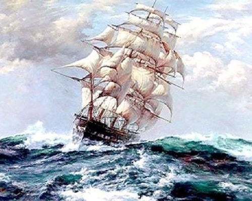 paint by numbers | Sailboat and Storm | advanced ships and boats | FiguredArt