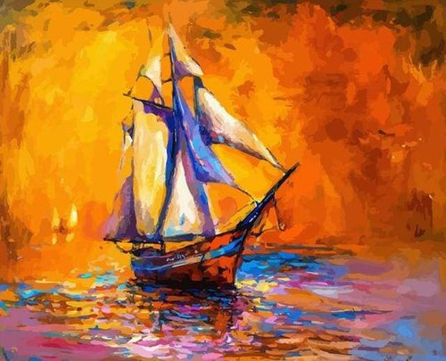 paint by numbers | Sailboat at sea | intermediate new arrivals ships and boats | FiguredArt
