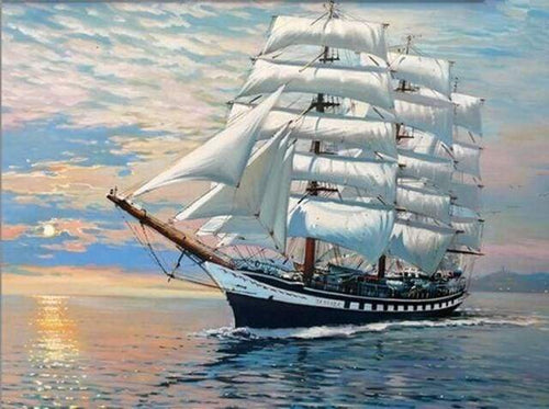 paint by numbers | Sailboat Ocean Landscape | advanced ships and boats | FiguredArt