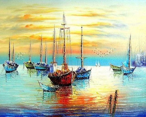 paint by numbers | Sailboats at the Port | intermediate landscapes ships and boats | FiguredArt