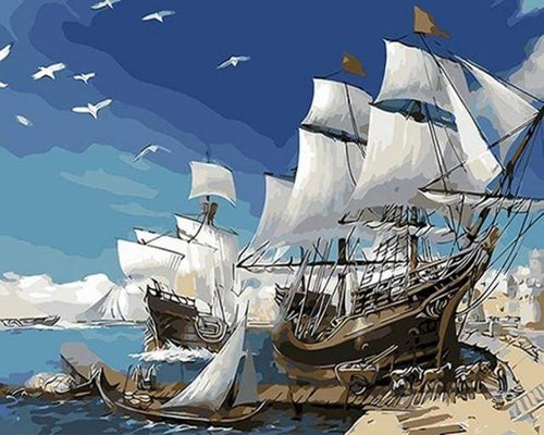 paint by numbers | Sailing ships | easy ships and boats | FiguredArt