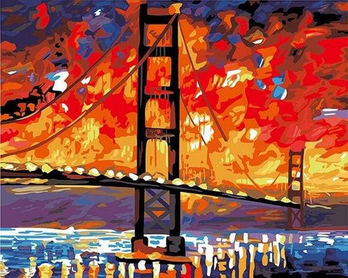 paint by numbers | San Francisco Bridge by Night | cities intermediate | FiguredArt