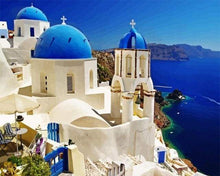 Load image into Gallery viewer, paint by numbers | Santorini Blue White | cities intermediate | FiguredArt