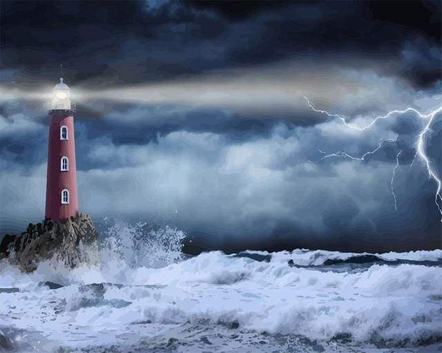 paint by numbers | Sea Lighthouse and Waves | advanced landscapes new arrivals | FiguredArt